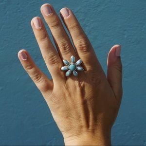 Hand Made LARIMAR Flower Statement Ring💙